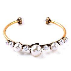 "Elegant Pearl Bracelet Beautiful Elegant Pearl Bracelet  Inner Diameter: 2.5""  Materials: Gold Plated, Faux Pearls, Nickel Free, Lead Free  Condition: New Jewelry Bracelets"