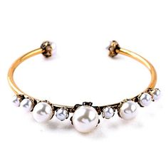 "Elegant Pearl Bracelet Beautiful Elegant Pearl Bracelet  Inner Diameter: 2.5""  Materials: Gold Plated, Faux Pearls, Nickel Free, Lead Free  Condition: New Jewelry Bracelets"