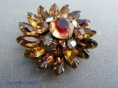 Rhinestone Kramer Brooch Brown Topaz Art Glass Vintage Designer Signed 1950s Jewelry via Etsy