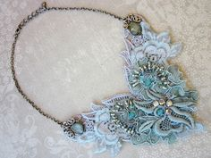 Angela Campos (Magical Mystery Tuca) is a talented artist . Beaded Vintage lace necklace