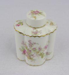 Haviland Limoges Pink Roses with Gold Gilt Tea Caddy