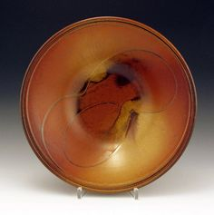 "John Bauman: 15"" Sunburst Red/Gold Porcelain Bowl  by baumanstoneware"