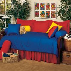 Primary Solids 5 Piece Daybed Ensemble Comforter Set Color: Red -- Learn more by visiting the image link.