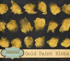 30 Metallic Gold Paint Blobs Clipart by Origins Digital Curio on Creative Market