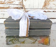 You can even paint old books with milk paint. Painted with Zinc by Sweet Pickins Milk Paint