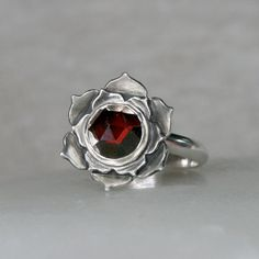 Lotus Garnet Sterling Silver Cocktail Ring Wine Red by KiraFerrer