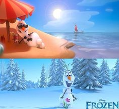 Olaf wants to live in the summertime and this is what he thinks but we all know what will really happen, so he better stay in the winter!