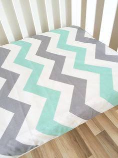 Mint Gray Chevron modern Fitted Cot Sheet by ElskeLittleStyle