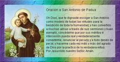 Rincón de la Oración: Estampas Oraciones de San Antonio de Padua Oracion A Santa Rita, Oracion A San Antonio, San Gabriel, Believe, Prayers, Goals, Baseball Cards, Slime, Saints