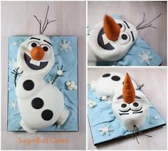 """Olaf from the movie Frozen. Made from stacking and carving a choc sheet cake. For more of my cakes, please visit """"www.facebook.com/sugarbudcakes """":http://facebook.com/sugarbudcakes"""