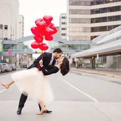 cute engagement session with heart balloons, Space 46 tulle skirt, blushing bride
