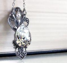 Crystal Drop Necklace Silver Swarovksi