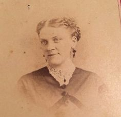 Antique c. 1860's CDV Photo - Smiling Woman, Light Eyes, Lace Collar, Earrings