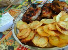 Afrikai ropogós csirke-sült krumplival-mentás uborkasalátával   Mediterrán ételek és egyéb finomságok... Shrimp, Steak, Chicken, Recipes, Food, Rezepte, Meals, Ripped Recipes, Recipe