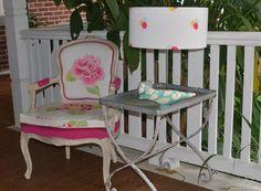 Pink aqua lime yellow spot pom pom linen print lampshade