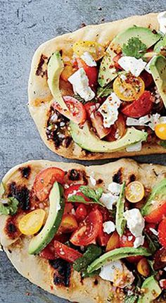 Grilled Avocado, Feta and Cherry Tomato Salsa Flatbread - Wine + pizza, the perfect pairing… (Click for our favorite recipe and pairing.)