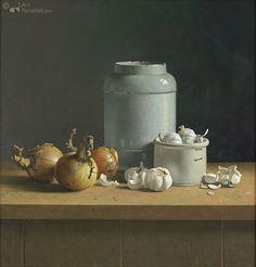 Knoflook, uien en grote apothekerspot Henk Helmantel 72.0 x 70.0 cm - Oil on panel - 2011