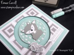 Eimear Carvill www.stampincolour.com Stamping Up Foxy Friends baby boy spinner card using A little Foxy DSP to make a quilted background. #stampincolour #babyboy #foxpunch