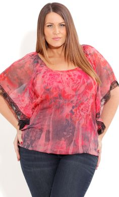 Plus Size Crushed Bed Of Roses Top image