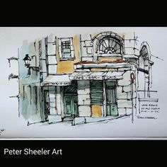 Painted on location. O Cais Cafe Bar. Ink In Water, Urban Sketching, Watercolor Paintings, Painting, Watercolor Architecture, Architectural Sketch, Watercolor Landscape, Peter Sheeler, Building Art