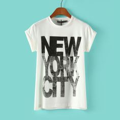 Spring Summer 2014 Fashion Short Sleeve Round Collar Letter New York City Print Womens Tees T shirts Tops Black/White-in T-Shirts from Appar...