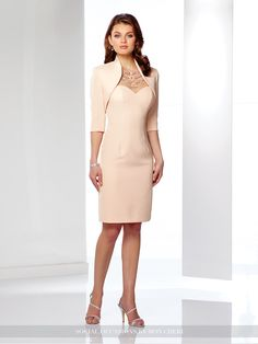 Social Occasions by Mon Cheri - 116842 - Two-piece thick satin dress set, sleeveless knee-length sheath, hand-beaded illusion bateau neckline, sweetheart bodice, illusion keyhole back, center back slit, matching bolero jacket with three-quarter length sleeves included. NEW Color: Light Champagne.Sizes:4 – 20Colors: Light Champagne, Mint, Blue Willow
