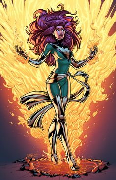 Jean Grey - Dark Phoenix by Ihor Loboda (Marvel comics) Comic Book Characters, Marvel Characters, Comic Character, Comic Books Art, Comic Art, Book Art, Jean Grey Phoenix, Dark Phoenix, Phoenix Force