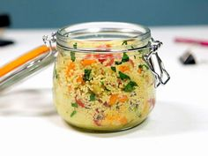 Office Eats: Just-Add-Water Vegetarian Couscous : Prep couscous, veggies and seasonings in a Mason jar the night before work. Come lunch time, add hot water for a quick vegetarian lunch.