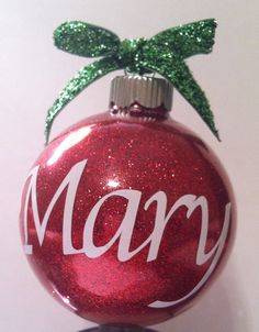 Glitter personalized ornament with name or initial - custom made. $6.00, via Etsy.