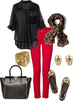 so cute! black sheet top, red jeggings and leopard accessories