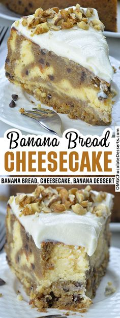 The classic banana bread recipe just got a considerable upgrade in the form of a cheesecake. Cheesecake Vanille, Banana Cheesecake, Baked Cheesecake Recipe, Make Banana Bread, Chocolate Chip Banana Bread, Banana Dessert Recipes, Banana Bread Recipes, Spring Desserts, Easy Desserts