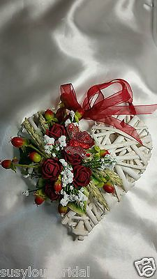Wedding Valentines White Wicker Heart With Burgundy Roses Berries Butterfly