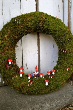 Moss Wreath Giggling Gnome Wreath by thechicadeeshop on Etsy, $120.00