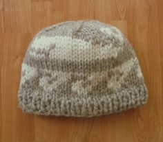 WOOL Toque Beanie hat. Cowichan style Whale / Orca in natural beige/grey and cream. New design in neutral light colors. For men and women. Ready to ship.  Hand knit with CANADIAN wool that is not been treated with any harsh chemicals.  It will keep you warm in the coldest weather. Great to wear when working or playing outdoors, from the Coast to the Prairies.  SIZE : Medium / Large Adult CARE : Hand wash, dry flat  All items come from a smoke free studio.  Go Green......Go Wool