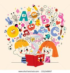cute kids reading book education concept illustration by Alias Ching, via Shutterstock