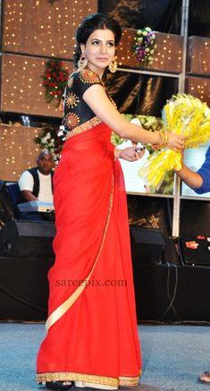 actress_samantha_red-saree_photos_so_satyamurthy_audio_release