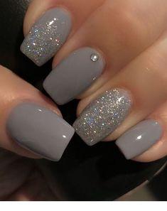 Grey Nail Polish, Gray Nails, Color Nails, Toenail Color, Gradient Nails, Grey Nail Art, Grey Acrylic Nails, Polish Nails, Acrylic Gel