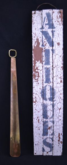 Vintage Brass Shoehorn with Rope Handle Design & Beautiful Patina, England, 17-3/8 Inches in Length, Long Shoe Horn, Shoespooner, Spooner