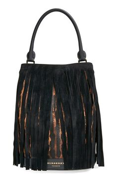 Burberry Prorsum Suede Fringed Genuine Calf Hair Bucket Bag available at #Nordstrom