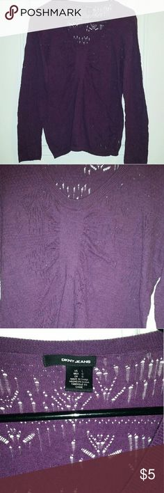 DKNY purple sweater Cute purplw sweater, super comfy and a cute crotchet look to it. DKNY Sweaters Cardigans