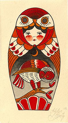 Little Owl matryoshka doll.