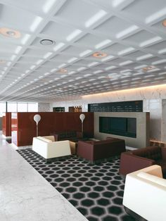Marc designed the Qantas First Class Lounges in the Sydney and Melbourne international terminals in parallel with the development of his design for the interiors of the Qantas aircraft. Qantas A380, A380 Aircraft, First Class, Lounges, Ceiling Design, Interior Architecture, Melbourne, Commercial, Interiors