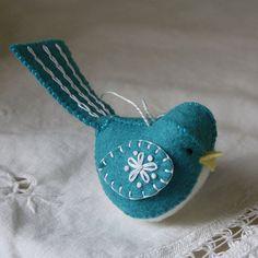 Handsewn Wool Felt Bird Ornament  - Bluebird with white embroidery - for Christmas or anytime