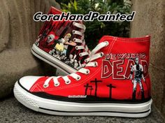 c32349a8a The Walking Dead and Painted High Top Canvas Shoes Design Sneake