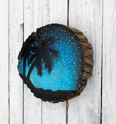 Items similar to Starry Night Palm Tree Beach Wood Slice Hand Painted Oil Paint Rustic Decor shelf wall decor wood log cutting, Sunset Beach Theme painting on Etsy Palm Tree Sunset, Palm Trees Beach, Sunset Beach, Beach Sunsets, Wood Slice Crafts, Wood Crafts, Beach Paint Colors, Painted Rocks, Hand Painted