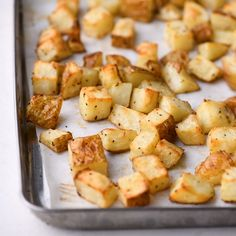 This Sheet Pan Crispy Roasted Potatoes Recipe is an easy, delicious side dish made in the oven! Paleo, vegan + whole30 friendly, these oven roasted potatoes are perfectly cooked + yummy! You can keep them plain, add thyme/rosemary or parmesan, or just stick with salt and pepper. See the post for a video and step by step instructions on how to make crispy roasted potatoes every time! These are the best roasted potatoes! #paleo #whole30 #healthy #potatoes #vegan