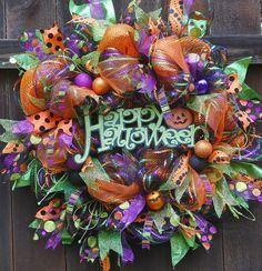 Holiday Wreath, 50 Dollars OFF, Halloween Wreath, Halloween, Deco Mesh Wreath…