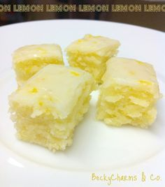 "Becky Charms & Co.: Lemony Lemonies Luscious Lemon Brownies.""If you were wondering how you can make a brownie without chocolate, you must brave the doubt and attempt these.  These are cakey-dense-moist just like brownies, with better-than-lemon-bar flavor!  These are going into my permanent recipe collection.  For...real!!"""