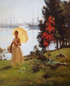 Young Woman Holding An Umbrella 1887, EDELFELT, ALBERT Gustaf Aristides (1854-1905) - oil