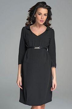8adb95ec11 Společenské černé těhotenské šaty se sponou na břiše